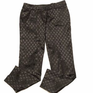 White House Black Market Slim Satin Print Pants 6R